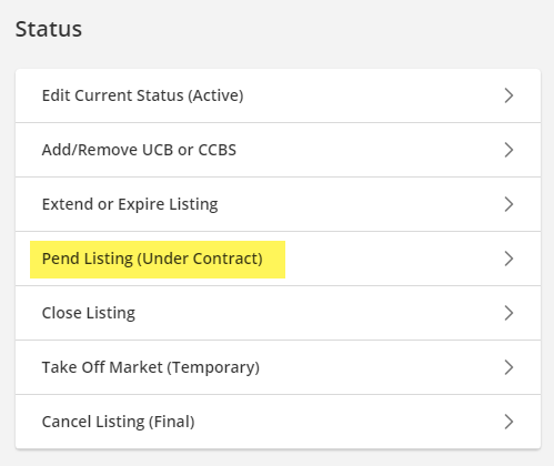 Change listings screen, pending highlighted