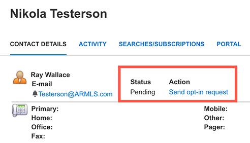 Screenshot of a Pending Opt-In Status