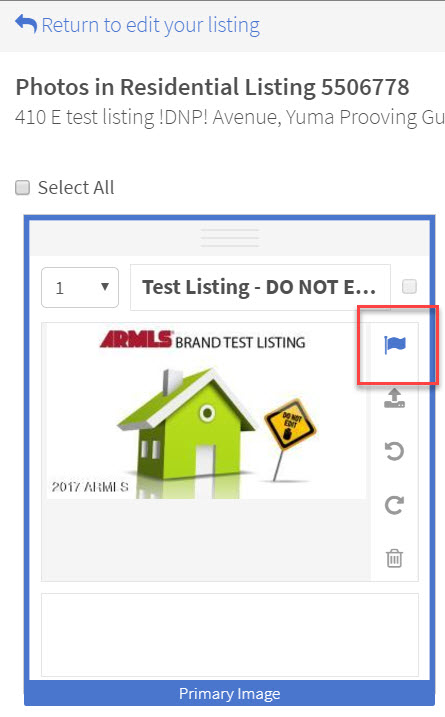 """Screen shot of """"Photos in Residential Listing"""" screen with blue flag highlighted by red box at top right of primary photo."""