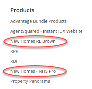 Screenshot of Products portion of Flexmls Menu. Both new homes products are circled in red.