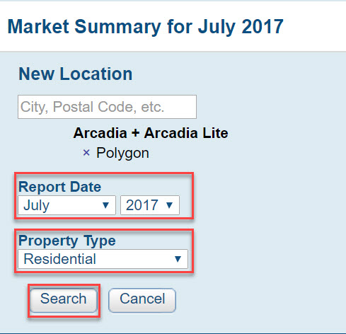 Screenshot of Market Summary page with Report Date field, Property Type field and Search button highlighted by red boxes.