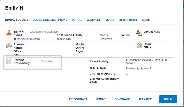 Screen shot of sample contact's Contact Detail screen inside Flexmls's Contact Management. Reverse Prospecting is enabled and highlighted by red box.