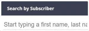 The Subscriber search dialogue box