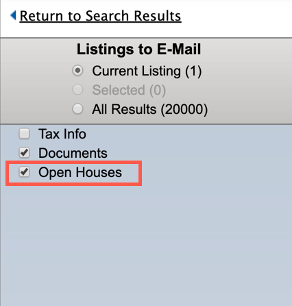 Screenshot of manual email screen with option selected to send open house info.