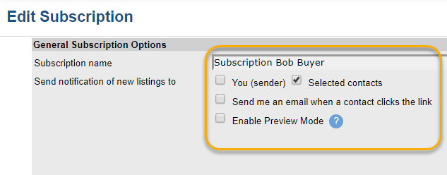 Screenshot of Flexmls subscription send to settings