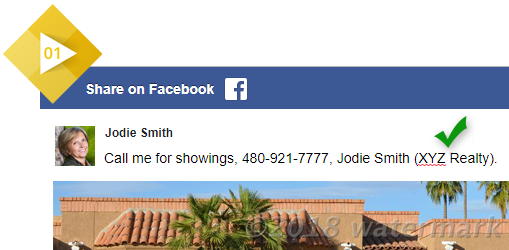 Screenshot of Facebook post of another agent's listing, including a reference to the posting agent's employing brokerage.