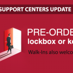 Image of an agent walking through a door with the words Pre-order lockbox and keys