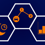 Three vector images depicting ShowingTime after hours, smart routes, and listing activity