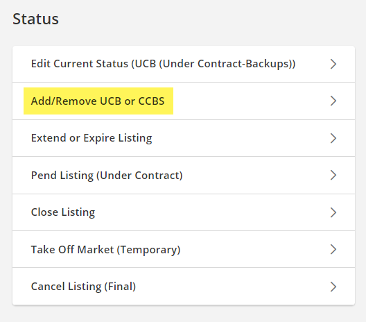 Change listings screen UCB highlighted