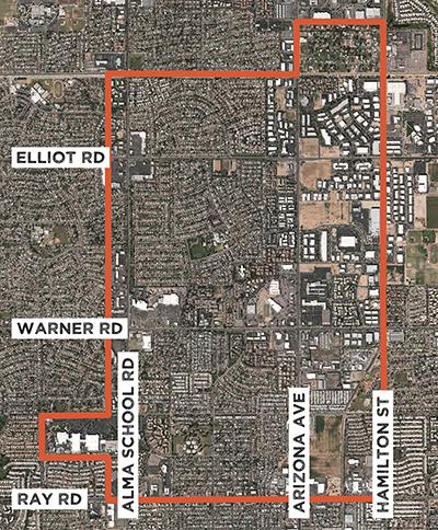 Map denoting Uptown Chandler