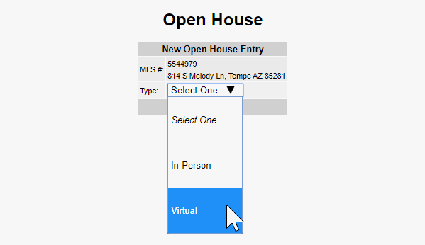 Virtual Open House Dropdown Box