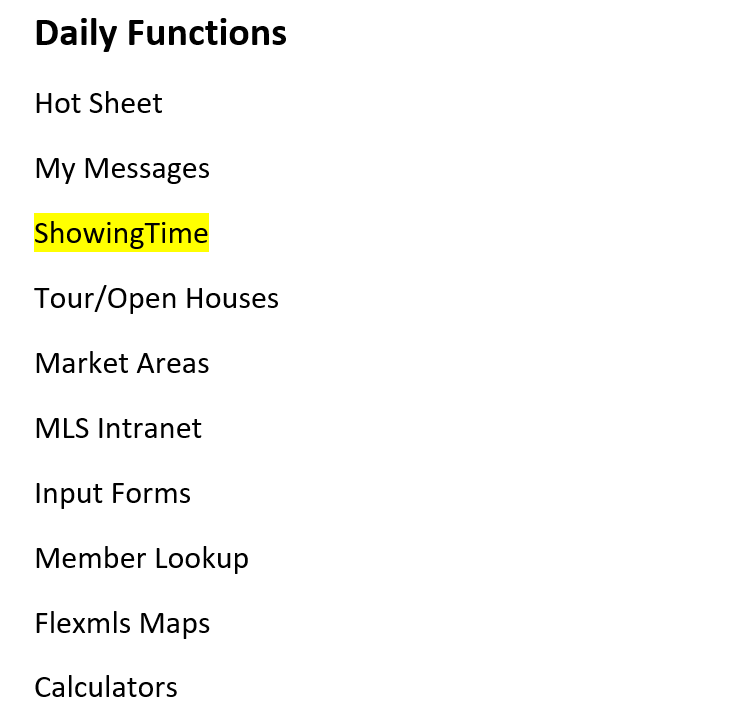 screenshot of Daily Functions menu in Flexmls