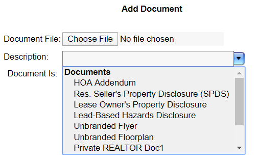 screenshot of options for adding documents in Flexmls