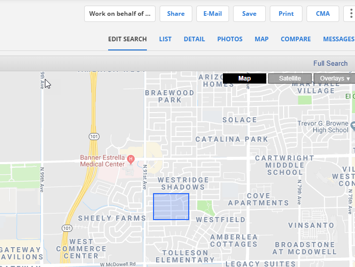 Rectangle drawn on Flexmls map