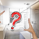 photo of bright bathroom with hands hovering over a red question mark