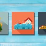 Three separate images, fine, flood, and landslide.