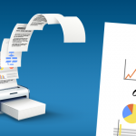 Vector image of printer sending papers into the air and a detail report with fake graphs