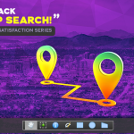 Map icons floating over purple map