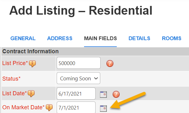 Coming Soon Listing On Market Date Field