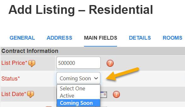 flexmls coming soon status field