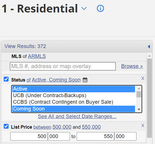 screenshot of flexmls coming soon listing status