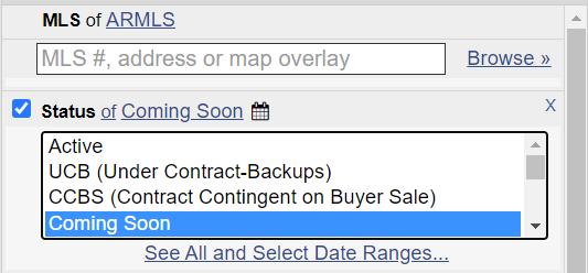 screenshot of coming soon option in Flexmls menu