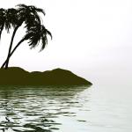 tiny desert island with palm trees