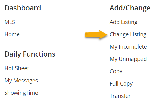 screenshot of option to edit listing in Flexmls