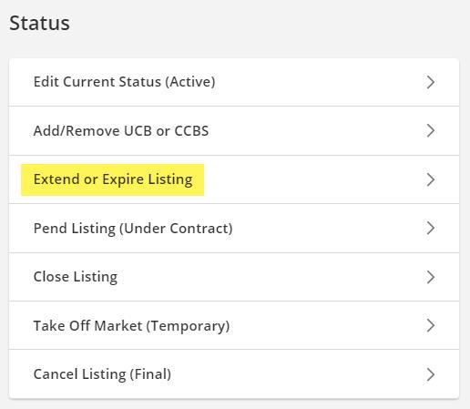 Screenshot of change listing date screen in Flexmls