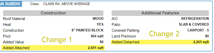 Screenshot of Monsoon square footage page