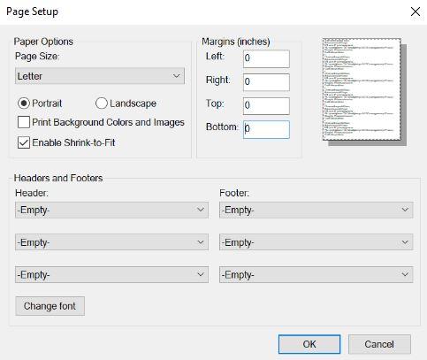 screenshot of printer settings page