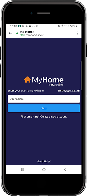Smartphone screenshot of My Home Log in