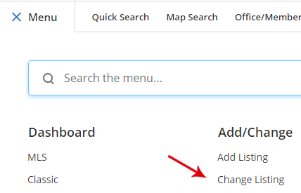 Screenshot of new search menu in Flexmls