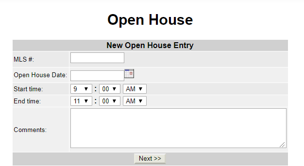 menu options for adding open house in Flexmls