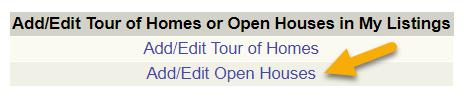 adding an open house in flex mls menu screenshot