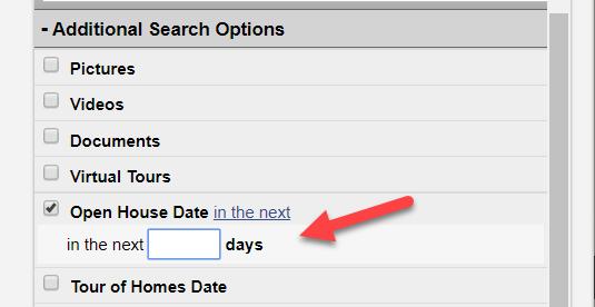 screenshot of open house search in Flexmls