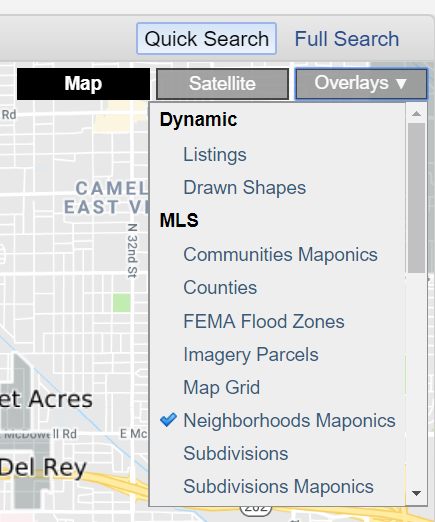Flexmls map overlays menu