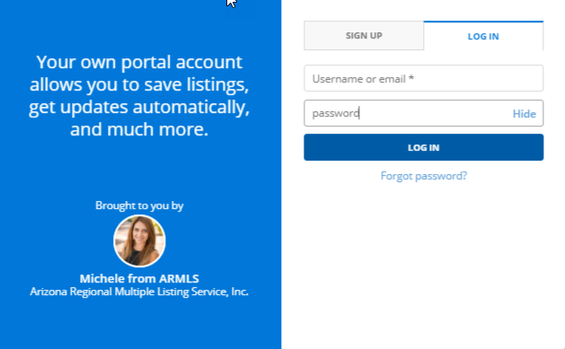screenshot of Flexmls portal login