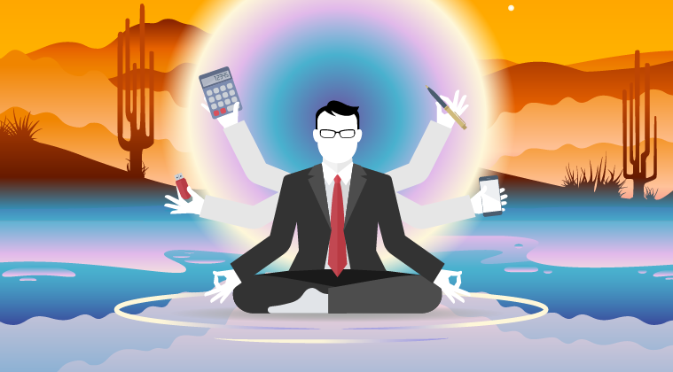 Vector man meditating in hot mountains in lotus pose