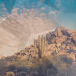 Arizona desert with geometric pattern overlay