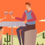 Vector couple sipping wine on patio in desert