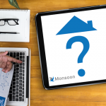 image of man holding graphs over keyboard with monsoon logo on tablet