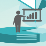 Vector man outline standing on pie chart pointing to a bar chart