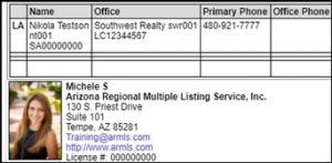 ARMLS listing report with agent photo