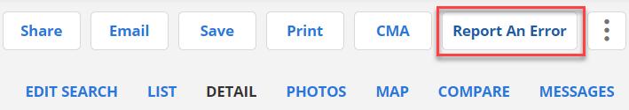 flexmls report listing error button