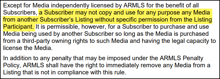 ARMLS Rule 8.23 outlined
