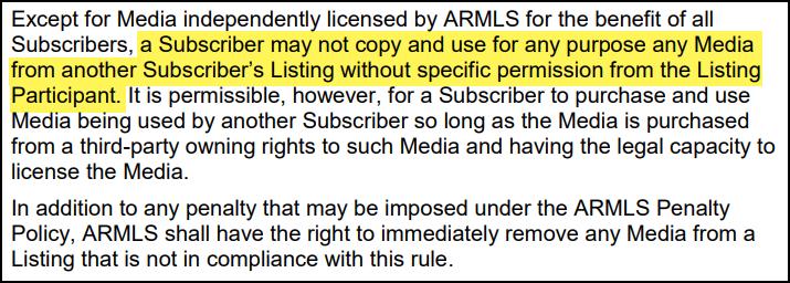 ARMLS Rule 8.23 outlined