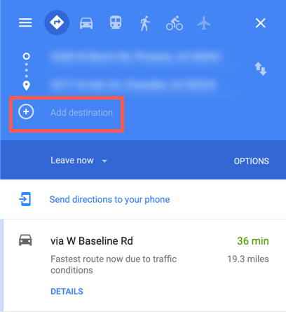 "Screenshot of Google Maps with ""Add Destination"" highlighted"