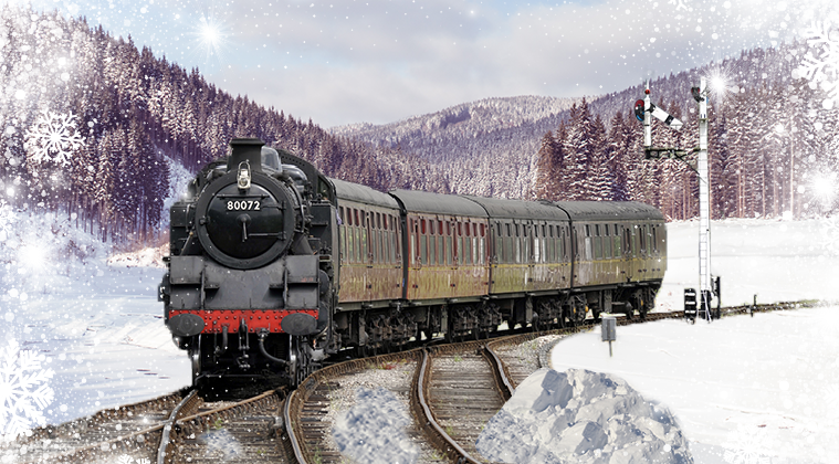 steam engine train in snowy field