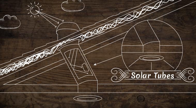 Vector solar tubes going in house
